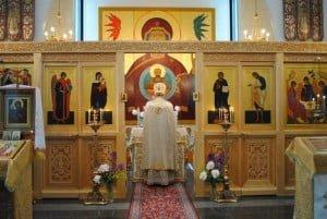 Внутренний вид Свято-Троицкой церкви Линтульского монастыря в Палокки