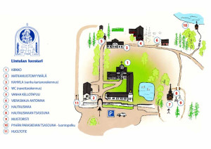 Lintulan luostarialueen kartta